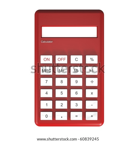 Red calculator isolated on white background. - stock photo