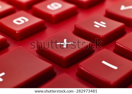 Red Calculator Keyboard, Super Close Up - stock photo