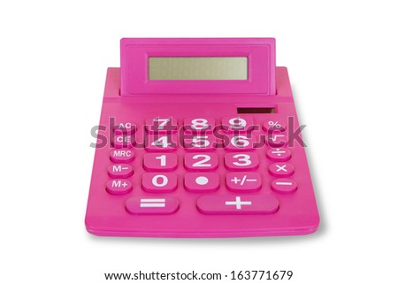 Red calculator on a white background at office - stock photo