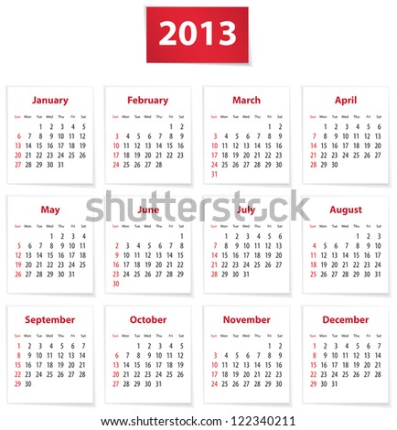 Red calendar for 2013 year in English - stock photo