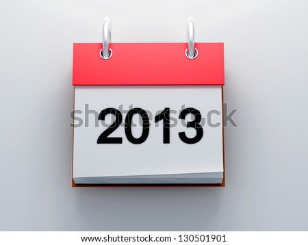 Red calendar 2013 icon front view 3d render - stock photo