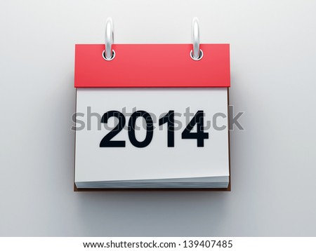 Red calendar 2014 icon front view 3d render - stock photo