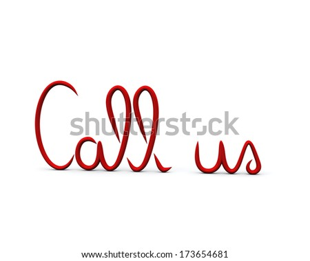 """Red  """"Call us"""" written symbol, 3d image - stock photo"""