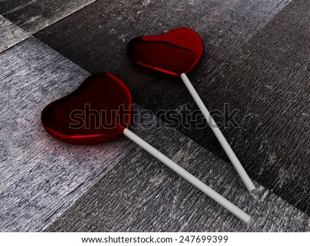 Red candies on a stick on wooden background. Two sweetmeats. 3D render. - stock photo