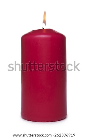 Red candle isolated on white background - stock photo