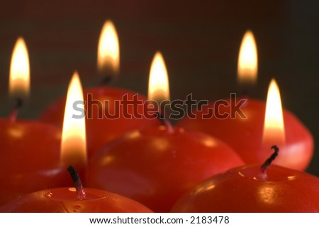 red candles assorted close up shoot