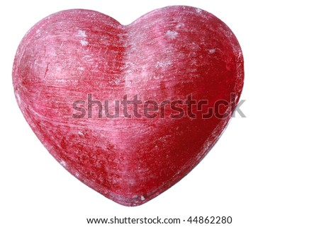 Red Candy Heart Isolated on White Background - stock photo