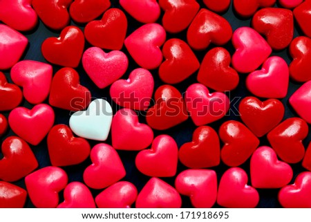 Red candy hearts background - stock photo