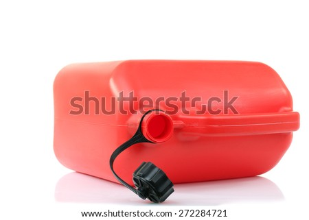 red canister of gasoline in isolation - stock photo