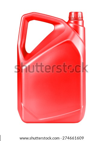 Red canister with engine oil isolated on white background. - stock photo