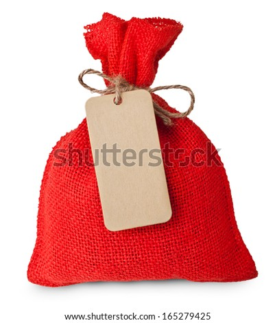 Red canvas sack with tag label blank isolated on white background