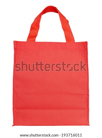 red canvas shopping bag isolated on white background with clipping path - stock photo