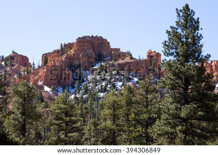 Red Canyon with snow in late winter - stock photo