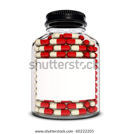 Red capsules into the glass bottle - stock photo