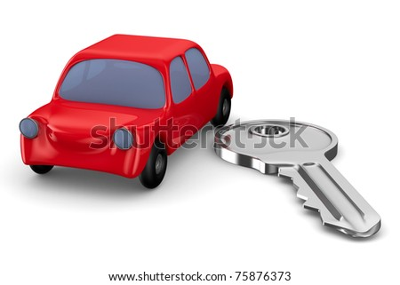 Red car and key on white background. Isolated 3D image