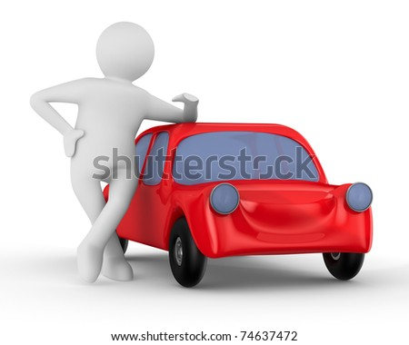Red car and man. Isolated 3D image - stock photo