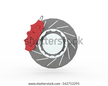 Red car brakes isolated on white background - stock photo