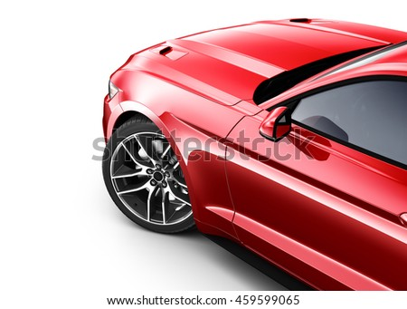 Red car - cropped shot isotlated on white (3d render) - stock photo