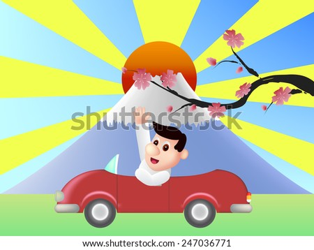 Red car in front of Fuji mountain with big red sun - stock photo