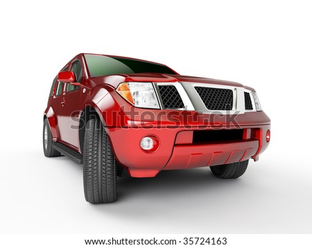 Red car isolaten on white background - stock photo