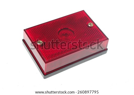 red car light isolated on white  - stock photo