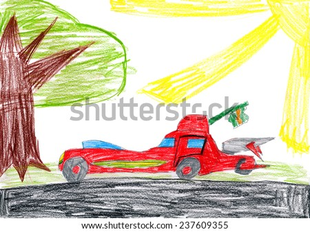 red car on a glade. children drawing - stock photo