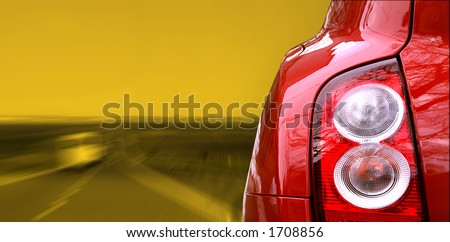 Red car on the highway - stock photo