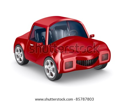 Red car on white background. Isolated 3D image - stock photo