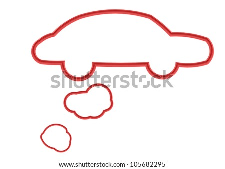 Red car shape speech bubble - stock photo