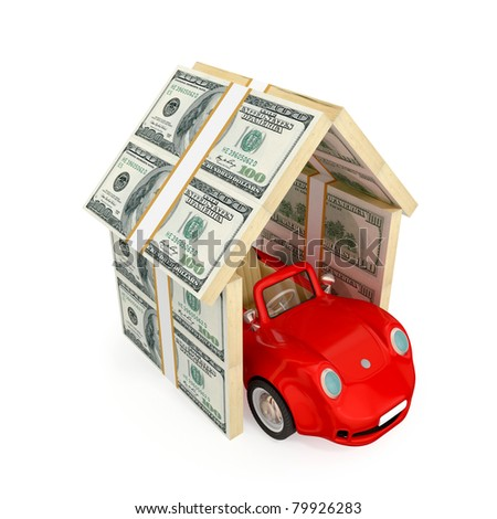 Red car under the roof made of dollar packs. 3d rendered.  Insurance concept. Isolated on white background. - stock photo