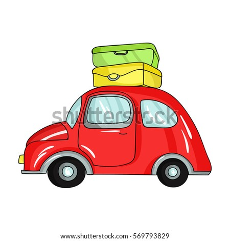 Red Car With A Luggage On The Roof Icon In Cartoon Style Isolated White Background