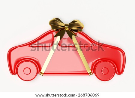 Red car with golden ribbon and bow isolated on white background - stock photo