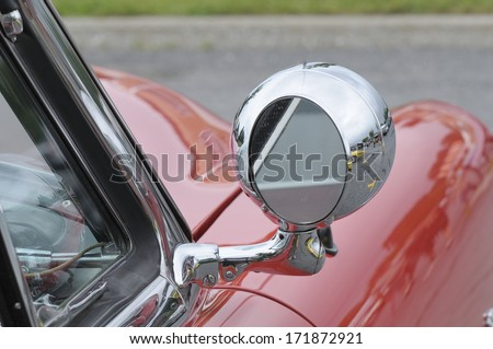 red car with mirror chromed  - stock photo