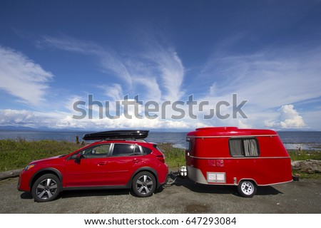 Red Car Tiny Camper Trailer Camping Stock Photo (Royalty Free) 647293084    Shutterstock