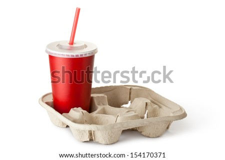 Red cardboard cup in the cup holder. Isolated on a white. - stock photo