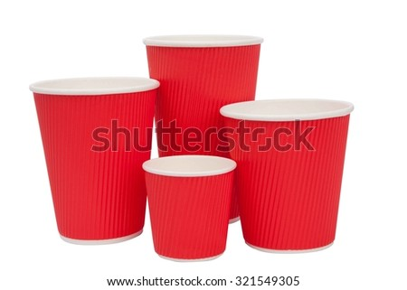 Red cardboard cups for hot drinks - stock photo