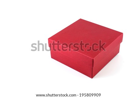 red cardboard gift box on white background