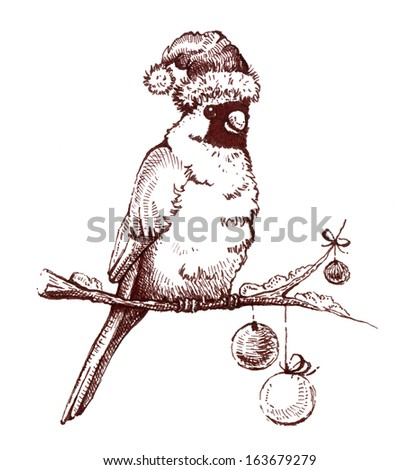 Bird Red Cardinal On Christmas Decor Stock Illustration 152603534 ...