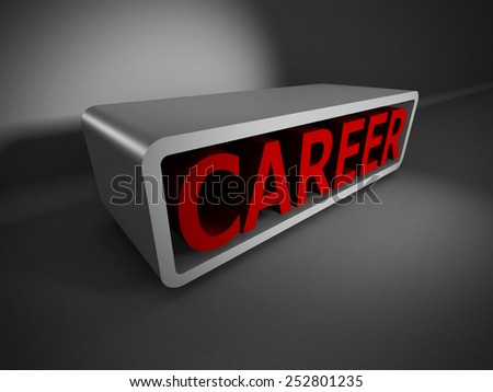 red CAREER 3d word on dark background. Business concept 3d render illustration - stock photo