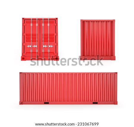 Red Cargo Container Front, back and side view - stock photo