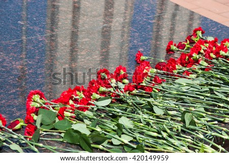 red carnations lie on a marble slab - stock photo