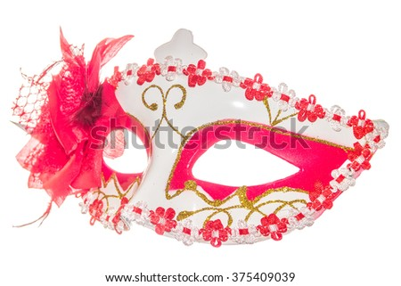 Red carnival mask bow decoration flowers border isolated white background side view - stock photo