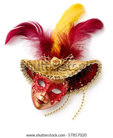 Red carnival mask. Isolated over white - stock photo