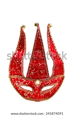Red carnival mask with golden ornaments over white background - stock photo