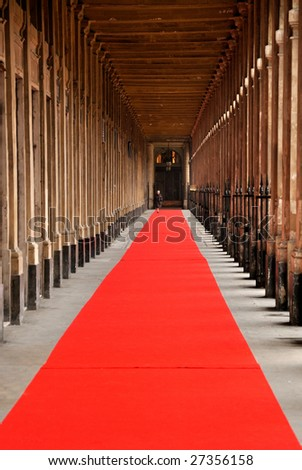 Red carpet alley in Paris Palais Royal