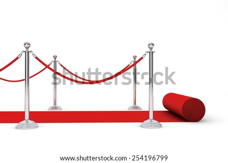 Red Carpet and Barrier Rope on a white background - stock photo