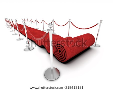 red carpet and barrier rope on white - stock photo