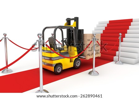Red Carpet and Barrier Rope with Forklift and Boxes on a white background - stock photo