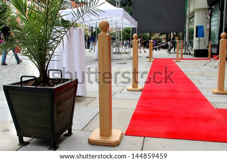 Red carpet and doors  - stock photo