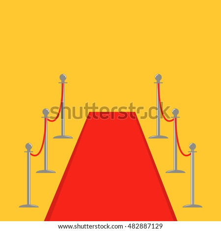 Red carpet and rope barrier golden stanchions turnstile Isolated template Yellow background. Flat design